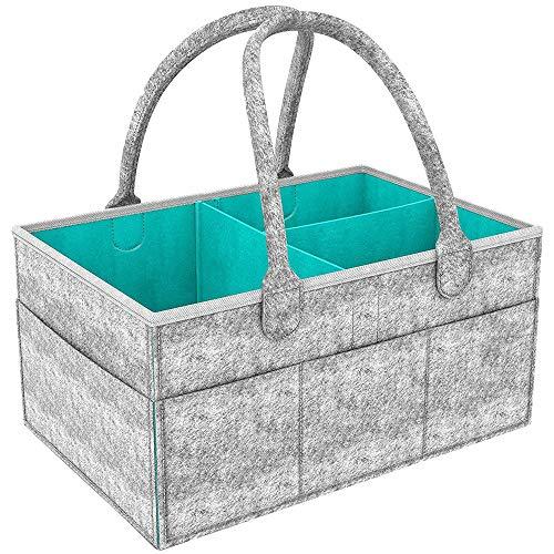 Baby Windel Caddy Organizer,Tragbar Filz Baby Windeltaschen,mit herausnehmbaren Trennwänden für Kinderzimmer, Auto und Reisen,Baby Dusche Geschenk Korb