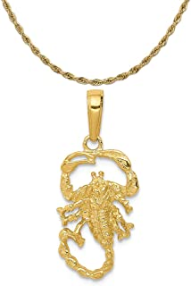 14k Yellow Gold Scorpion Charm on a 14K Yellow Gold Rope Chain Necklace, 16