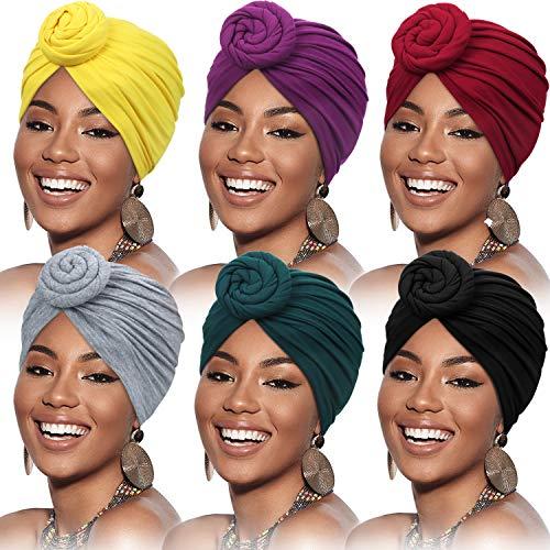 SATINIOR 6 Stück Damen Afrikanisch Kopfbedeckung Turban Blume Knoten Vorgebundene Motorhaube Mütze Kappe Kopfwickel (Gelb, Grün, Lila, Schwarz, Grau, Weinrot)