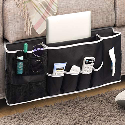 Titan Mall Bedside Caddy Bedside Organizer with 14 Pockets Bed Caddy Bed Pocket Bedside Storage Organizer for Remotes,Magazines,Phone,Glasses