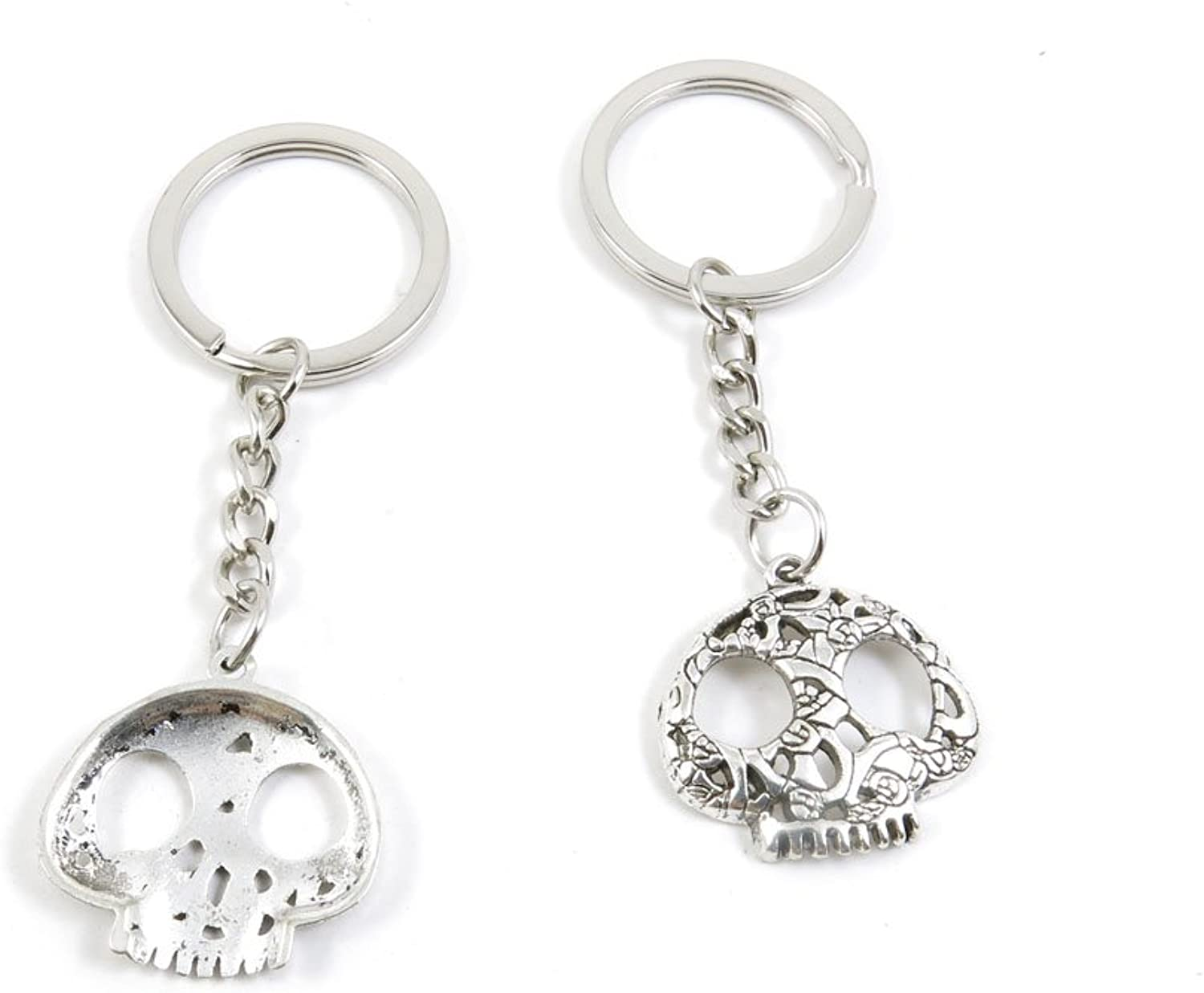 100 Pieces Keychain Keyring Door Car Key Chain Ring Tag Charms Bulk Supply Jewelry Making Clasp Findings A8BF2G Skull Head