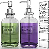KOLYES Soap Dispenser 2 Pack, Hand Soap Dispensers with 18 Oz Clear Thick Glass Boston Round Bottle, 304 Rust Proof Stainless Steel Pump, 6Pcs Clear Stickers, Kitchen & Bathroom Soap Dispenser