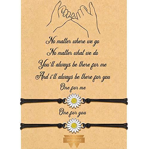 2-Piece Pinky Promise Bracelets Friendship Couple Distance Matching Graduation Bracelet Bohemia (Daisy)