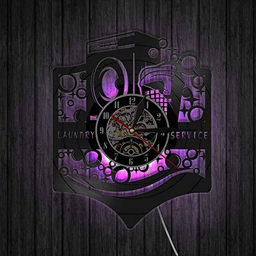 showyow Reloj de Pared con Panel de Vinilo, Regalo Vintage, Hecho a Mano, Lavadora, Limpieza en seco, decoración de Arte de Pared de Sala de Estar, Propietario de lavandería