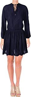 Tommy Hilfiger Women's Embroidered Chambray Peasant Dress Navy 12