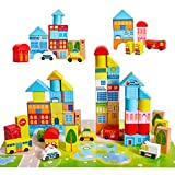 Onshine 62 Teile Bunte Holzspielzeug Holzbausteine Bauklötze Bausteine Holz für Baby Kinder mit Koffer
