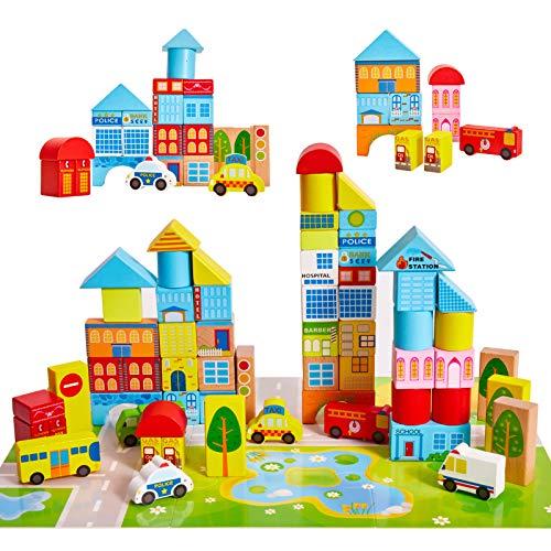 Onshine 62 Pièces Jeux Blocs Briques de Construction Empilable en Bois Jouets Puzzle Éducatifs pour Enfants Bébé