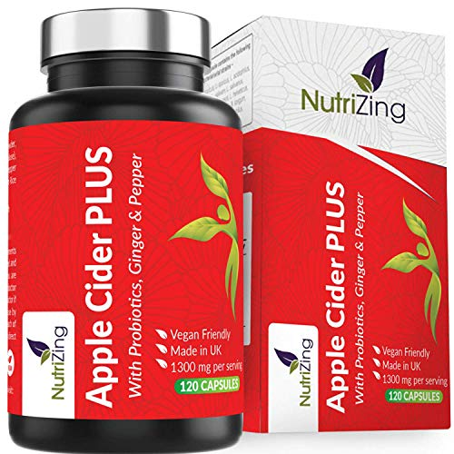 Apple Cider Vinegar Capsules - Contains Bio Cultures, Prebiotics, Curcumin, Ginger & Cayenne Pepper - 1300mg Per Serving - Vegan Capsules - Made in UK by NutriZing