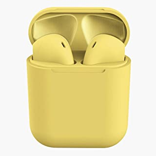 HelloDigi Bluetooth Headphones,InPods 12 Macaron Wireless Bluetooth Headphones Matte Bluetooth Earphones,Intelligent Automatic Connection Wireless Bluetooth Earbuds Sports Bluetooth Headset (Yellow)
