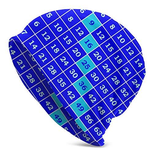 Amoyuan Multiplicatie Tafel Sjabloon Beanie Slouch Winter Schedel Gebreide Fashion Cap voor Mannen Vrouwen Zwart