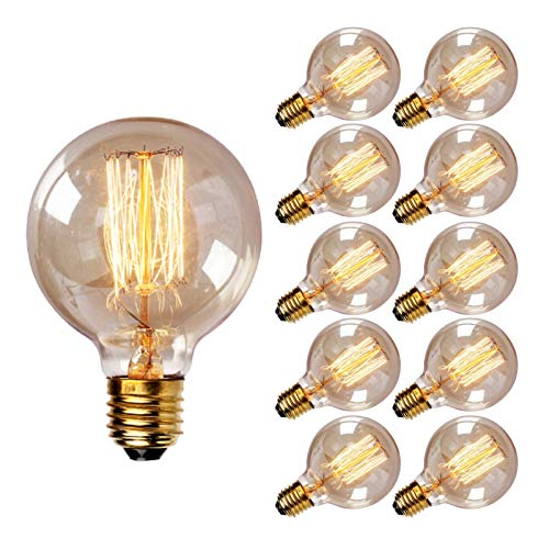 JYKFJ Lampadina retrò da 10 Pezzi, Lampadina Decorativa Antica a LED E27, filamento a Gabbia di Scoiattolo G125 110V-220V, Molto Adatta per Illuminazione nostalgica e retrò