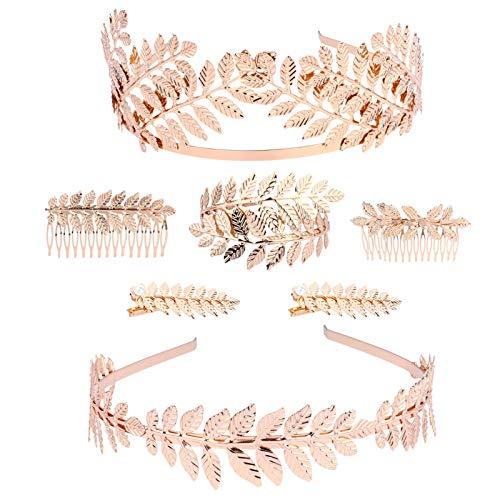 Lurrose 7 Piezas Accesorios de Disfraz de Diosa Griega Hojas Corona Tiara Peine Pulsera Brazalete Diadema de Hoja de Oro para Mujer