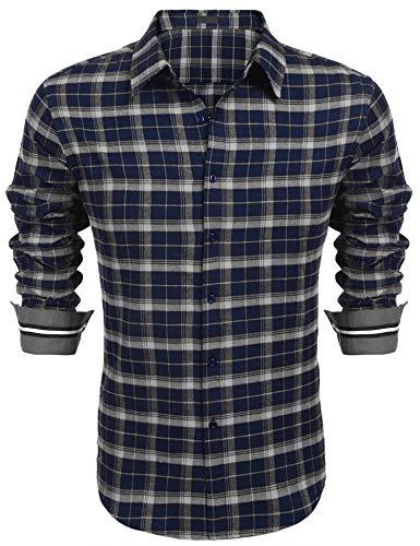 COOFANDY Hemd Herren Kariertes Hemd Freizeithemd normal geschnittenes Partyhemd Herren langärmeliges Kariertes Hemd(Blau,L