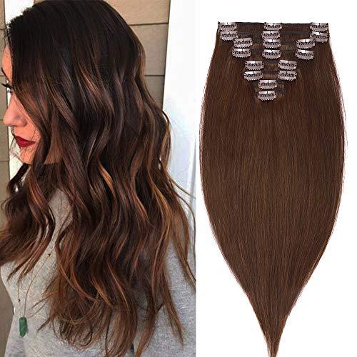 Extensions Echthaar Clip In 100% Remy Echthaar Haarverlängerungen Glatt Standard 8 Tressen 18 Clips 60cm/120g (#4 schokoladenbraun)