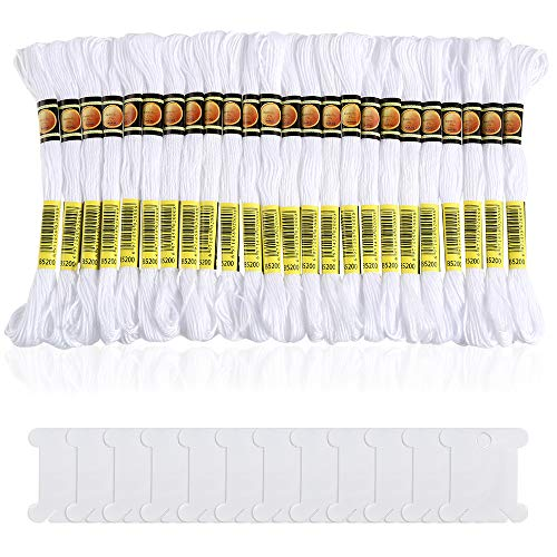 Pllieay 24 Skeins White Embroidery Threads Cotton Embroidery Floss Friendship Bracelets Floss with 12 Pieces Floss Bobbins for Knitting, Embroidery Stitching and Cross Stitch Project