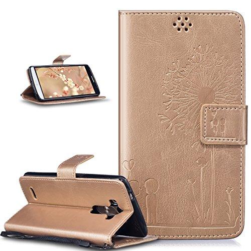 Kompatibel mit LG G3 Hülle,LG G3 Lederhülle,LG G3 Handyhülle,Prägung Liebe Löwenzahn Liebhaber PU Lederhülle Handyhülle Taschen Handytasche Flip Wallet Ständer Schutzhülle für LG G3,Gold