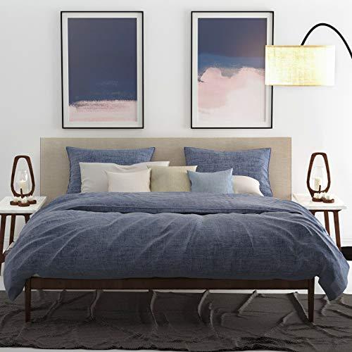ZO! HOME Cotton Bettwäsche 135x200 cm Lino Urban Blue dunkelblau meliert Uni
