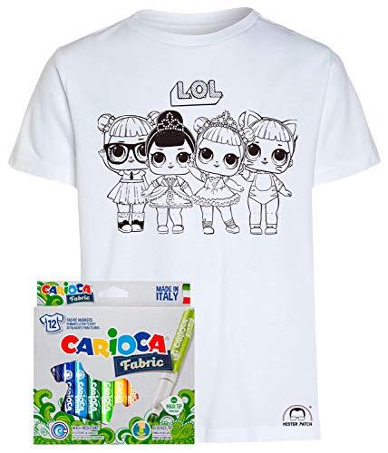 Mister Patch Idea Regalo per Bambini - Maglietta t-Shirt da colorare con Colori Inchiostro per Tessuti - Bamboline LOL Bambole Surprise Originale educativa (3-4 Anni, Maglia 4 Bambole + Colori)