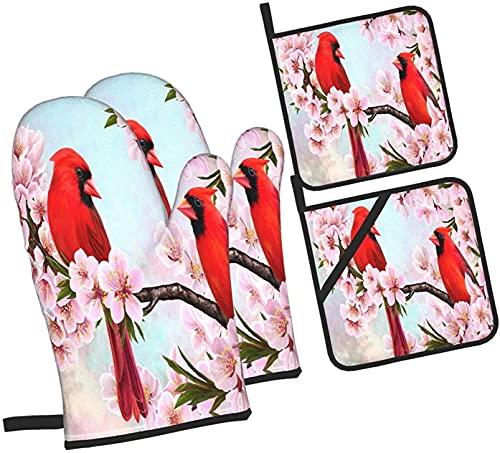 Red Cardinal Branch Almendras Flores Horno Mitones y Agarraderas Juego de Cocina 4 Piezas Resistente al Calor Cocina Cocina Agarraderas Hornear Guantes BBQ