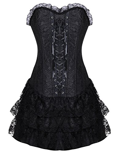 Burvogue, corsetto con gonna da donna in stile gotico Steampunk Red X-Large