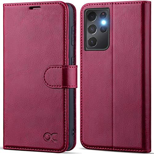 """OCASE Custodia Samsung S21 Ultra, Cover Samsung S21 Ultra Interno TPU Antiurto Portafoglio [RFID Blocking] [Carta Fessura] [Supporto Stand] Custodie in Pelle per Galaxy S21 Ultra (6,8"""") - Borgogna"""