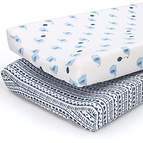The Peanutshell Changing Pad Covers for Baby Boys or Girls | 2 Pack Set | Blue Elephants amp Tribal Stripes