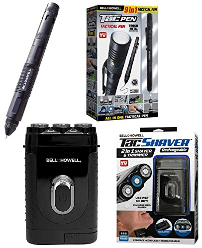 TACSHAVER Rechargeable and TACPEN by Bell+Howell Tactical Gears for Outdoors and In, Shaver, Glass Breaker +LED Flashlight +Screwdriver + Bottle Opener – As Seen On TV
