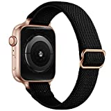 SICCIDEN Slim Stretchy Bands Compatible with Apple Watch Band 41mm 40mm 38mm 45mm 44mm 42mm, Women Elastics Nylon Thin Band Strap for iWatch SE Series 7 6 5 4 3 2 1 (Black/Rose Gold, 41mm 40mm 38mm)