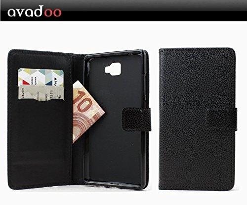 avadoo® Archos 55 Cobalt Plus Flip Hülle Cover Tasche Schwarz mit Magnetverschluss & Dualnaht als Cover Tasche Hülle