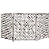 MyGift 3-Panel White Washed Wood Trellis Design Outdoor Folding Fence Enclosure