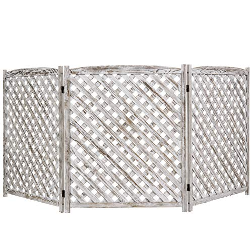 MyGift 3-Panel White Washed Wood Trellis Design Outdoor Folding Fence Enclosure