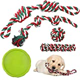 PrimePets 5 PCS Dog Toys, Dog Rope Toys and Flying Disc Set for Small & Medium Dogs, Tough Rope Chew Toys, Interactive Durable Puppy Dog Tug of War for Dog Teething Dental Cleaning