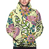 flys Men's Hoodie Vector Hand Drawn Decorative Sweatshirt,S