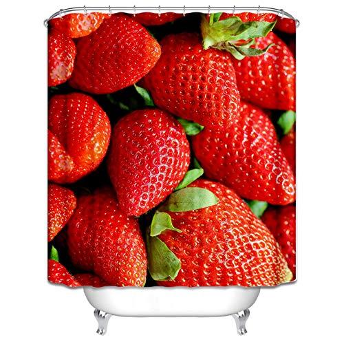 Aienid Polyester Badezimmer Deko Gold Schimmelbeweis Wasserdicht Duschvorhang Erdbeere Muster Größe:150X200CM