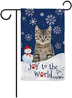 BAGEYOU Happy Winter Holiday Snow with My Love Dog Cat Decorative Garden Flag Joy to The World Snowfalke Paws Snowman Home...