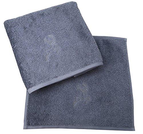 Vossen New Generation Handtuch Set 2 teilig grau mit Hirsch Stickerei Hand- und Seifentuch