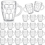 Mini Clear Plastic Beer Mug Shot Glasses for Beer Fest, Sports Party, Wedding, Outdoor BBQ, Outdoor Picnics, or Oktoberfest (24 Pieces)