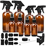 Glass Spray Bottle, ESARORA Amber Glass Spray Bottle Set - Essential Oils - Cleaning Products - Aromatherapy (16OZ x 2, 8OZ x 2, 4OZ x 2, 2OZ x 2)