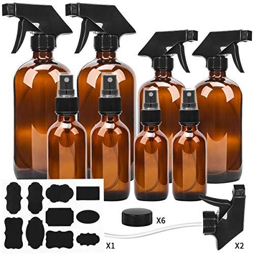 ESARORA Glas-Sprühflasche, bernsteinfarbenes Glas-Sprühflaschen-Set – ätherische Öle – Reinigungsprodukte – Aromatherapie (2, 237 ml x 2, 113 g x 2, 56 g x 2)