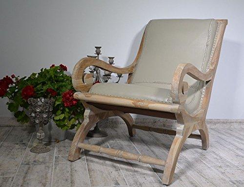 Teakholz Holz Ledersessel Massivholz Sessel Leder Lounge Kolonialstil 92 x 76 x 60 cm