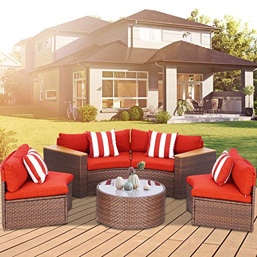 Incbruce Outdoor 5-Piece Sectional Patio Furniture Half-Moon Sofa, All-Weather Brown Wicker Conversation Sets with Round Tempered Glass Top Table and Red Cushions