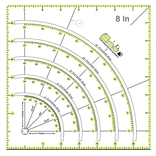 Arcs & Fans Quilt Circle Cutter Ruler, and Art DIY Patchwork Ruler Multifunctional Crafts Sewing Needle Tools for Cutting Cloth Ruler Template Sewing Crafts, 8 Inches