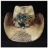 Duarble Casquillo de Sun de la mujer sombrero paja de la manera occidental del sombrero de vaquero verano de señora Beach pluma del sombrero Hombre Rojo Panamá Jazz Vaquera Tamaño 56-58cm (color: café
