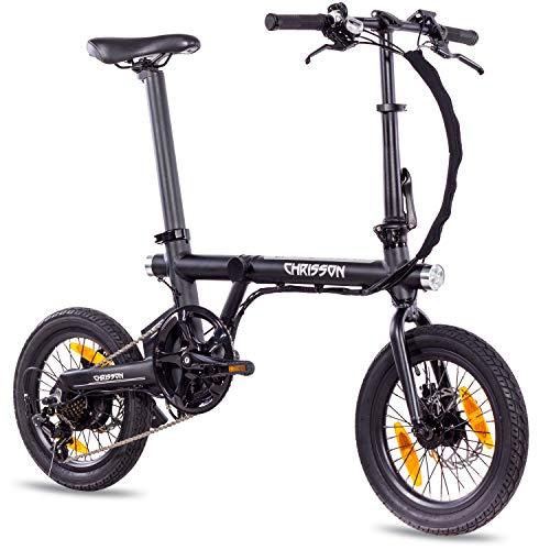 Vélo pliant Christ ERTOS 16 – Noir – Vélo électrique pliable avec roue arrière 250 W 36 V 30 Nm – Pedelec Faltrad pour femmes, hommes et adolescents, vélo pliable électrique pratique