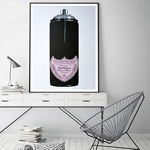 WADPJ muurkunst canvas schilderkunst Nordic poster afdrukken stilleven Rose champagne modulaire afbeeldingen woonkamer meisjes slaapkamer decor 50x70cmx1 stuk geen lijst