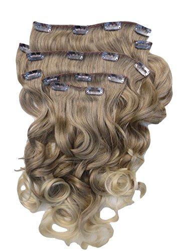Toutes les couleurs disponibles, Extension De Cheveux Bouclée Mélange De Marron Clair Et Blond 61 Cms De Longueur Vraiment Naturelle