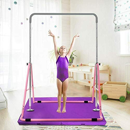 Fetcoi - Barra horizontal de gimnasia para niños, barra horizontal plegable, altura de 85 a 129,5 cm