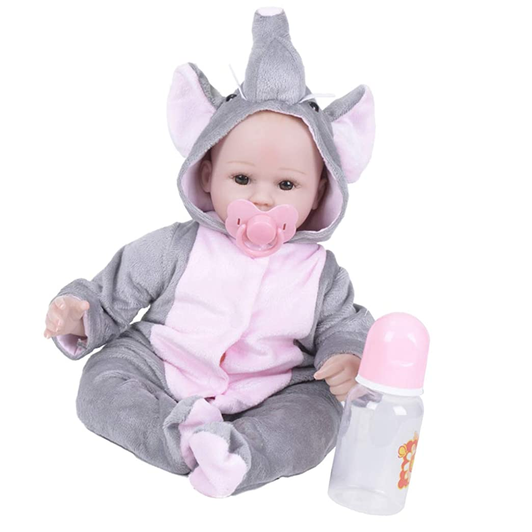 特権ストローク無臭SM SunniMix かわいい リボーンドール モデル 新生児 象 動物服付き シリコーン おもちゃ