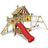 WICKEY Spielturm Smart Trip Kletterturm Zirkuszelt Spielhaus mit Schaukel und roter Rutsche,...