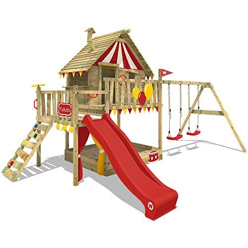 WICKEY Spielturm Klettergerüst Smart Trip mit Schaukel & roter Rutsche, Stelzenhaus mit Sandkasten, Kletterleiter & Spiel-Zubehör